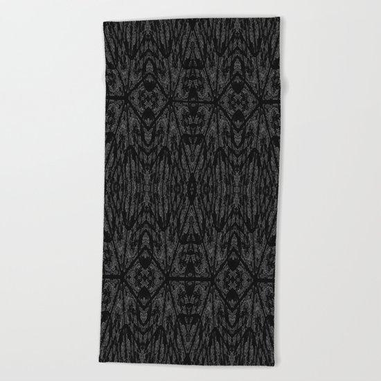 Slate Gray Black Pattern Beach Towel