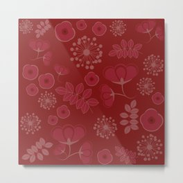 Marsala flowers pattern Metal Print