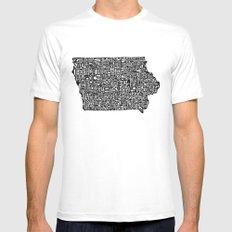 Typographic Iowa MEDIUM Mens Fitted Tee White