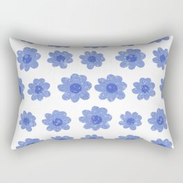 Modern hand drawn blue daisy flowers Rectangular Pillow