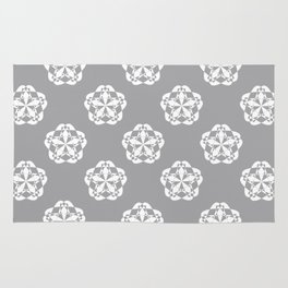 Gray Floral Checkered geometric pattern Rug