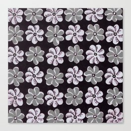 Floral design Black Gray & Light Fuchsia Flowers Print Canvas Print