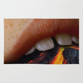 "ART WORK "" MOUTH IS A VOLCANO"" Rug"