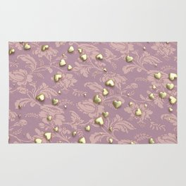 VALENTINE HEARTS - Gold Hearts & Royal Rose Tapestry Rug