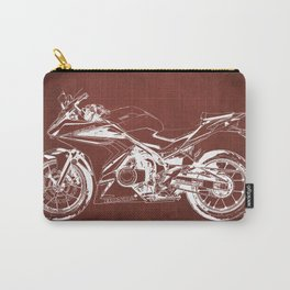 2019 Hond CBR500R Blueprint original colorful portrait red background Carry-All Pouch