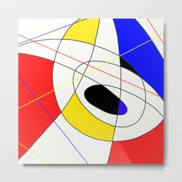 Incomplete Primary - Red, yellow, black, white, blue abstract artwork Metal Print