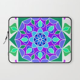 Mandala in blue and green colors Laptop Sleeve