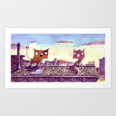 Cats on the roof Art Print