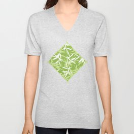 Green Bamboo Leaves Unique Pattern Unisex V-Neck