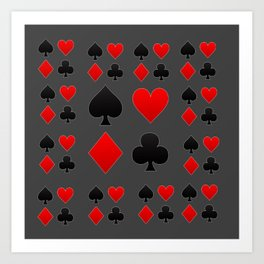 RED & BLACK PLAYING CARD  ART ON CHARCOAL GREY Art Print