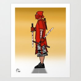 Street Samurai Series - Red Sun Art Print