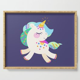 Cute unicorn with colorful mane and tail Serving Tray