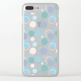 Abstract Circles - Teal and Blue Clear iPhone Case