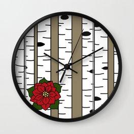 Poinsettia Birch Wall Clock
