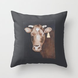 Gold Earring - Cow portrait Throw Pillow