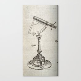 Astronomical Instruments: Large Telescope with a Protractor Pivot and Tripod Canvas Print