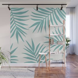 Delicate Green Tropical Leaves Pattern Wall Mural