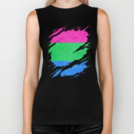 Polysexual Pride Flag Ripped Reveal Biker Tank