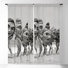 Women Wearing Bizzaro Macabre Carnival Masks at Venice Beach black and white photograph Blackout Curtain