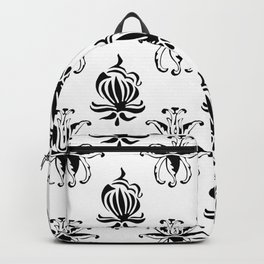Vintage black white elegant floral damask Backpack