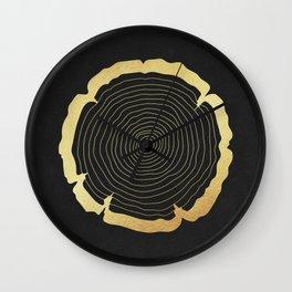 Metallic Gold Tree Ring on Black Wall Clock