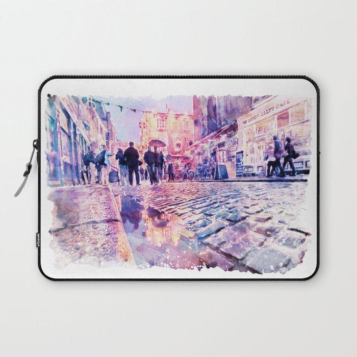 Dublin Watercolor Streetscape Laptop Sleeve