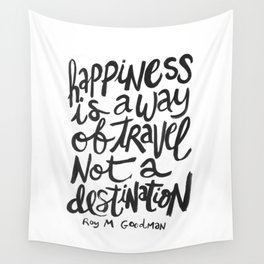 happiness quote hand lettered print Wall Tapestry