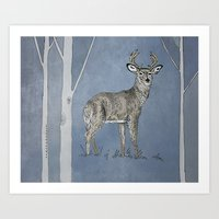 stag Art Prints featuring Stag  by Leanna Rosengren