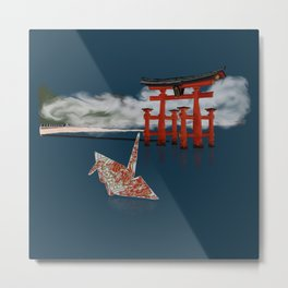 Floating by the Torii Gate Metal Print