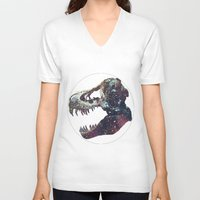 trex V-neck T-shirts featuring Galaxy trex by Fallen amongst the wolves