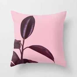 Burgundy Rubber Plant Throw Pillow