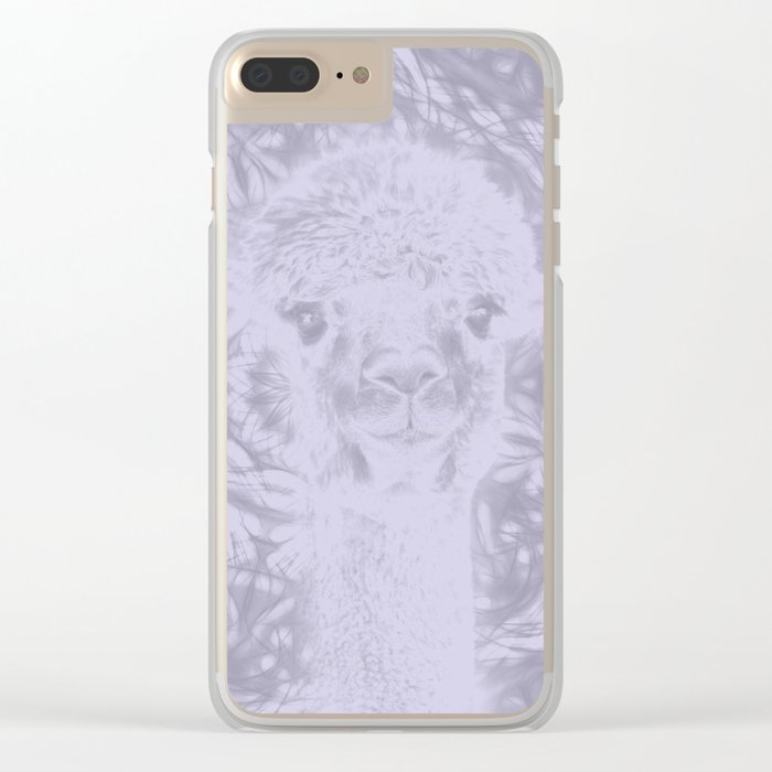 Ghostly alpaca and Lilac-gray mandala Clear iPhone Case