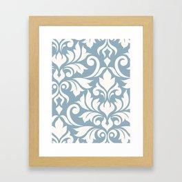 Flourish Damask Art I Cream on Blue Framed Art Print