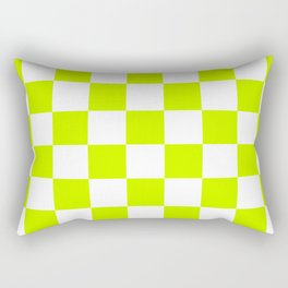 Checkered - White and Fluorescent Yellow Rectangular Pillow
