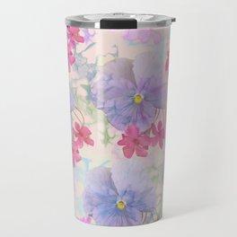 Painterly purple pansies and pink Oxalis Travel Mug