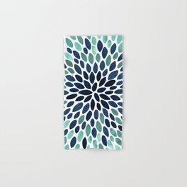 Flower Bloom, Aqua and Navy Hand & Bath Towel
