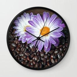 COFFEE & VIOLET DAISY Wall Clock