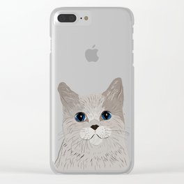 Grey cat Blue eyes Clear iPhone Case