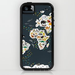 Cartoon animal world map for kids, back to schhool. Animals from all over the world iPhone Case