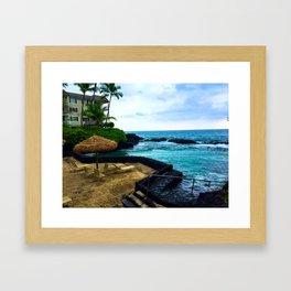 Hawaiian Beach Scene Lava Rocks on the Big Island Framed Art Print