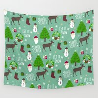 merry christmas Wall Tapestries featuring Merry Christmas  by Marcelo Romero