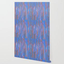 Geometric Blue Orange Painting Wallpaper