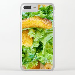 Salad arugula leaves with cheese and orange slices Clear iPhone Case