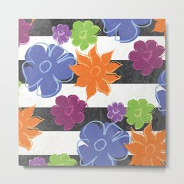 Vintage Style Summer Flowers on Black and White Stripe Metal Print