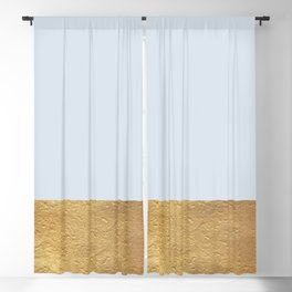 Color Blocked Gold & Periwinkle Blackout Curtain