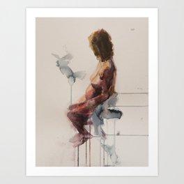 MA Seated, Watercolour Figure Painting  Art Print