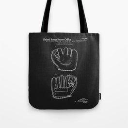 Baseball Glove Patent - Black Tote Bag