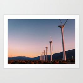 California Desert Windmills at Sunset with Mountain Vistas Art Print