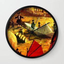 Paper ship in the port of Shangai Wall Clock
