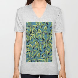 Watercolor Olive Branch Leaves on Stormy Blue Unisex V-Neck